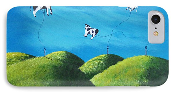Even Cows Have Strange Dreams By Shawna Erback Art Phone Case by Shawna Erback