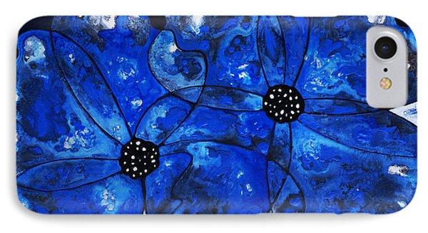 Evening Bloom Blue Flowers By Sharon Cummings Phone Case by Sharon Cummings