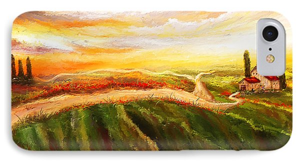 Evening Sun - Glowing Tuscan Field Paintings IPhone Case by Lourry Legarde