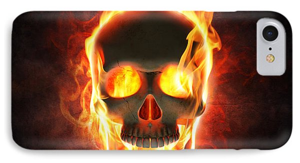 Evil Skull In Flames And Smoke IPhone Case by Johan Swanepoel