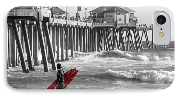 Existential Surfing At Huntington Beach Selective Color IPhone Case by Scott Campbell