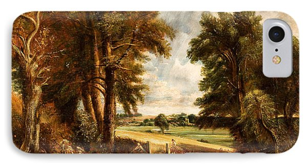 Extensive Landscape With Boy Drinking Water From A Stream IPhone Case by Celestial Images