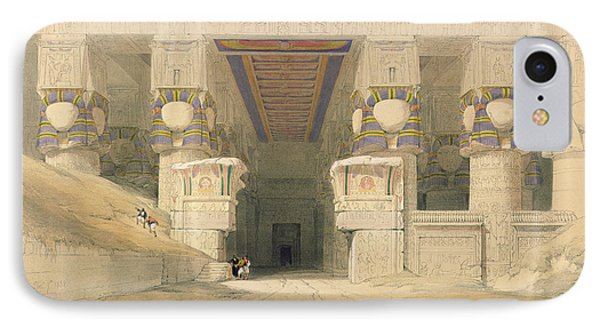 Facade Of The Temple Of Hathor, Dendarah, From Egypt And Nubia, Engraved By Louis Haghe 1806-85 IPhone Case by David Roberts