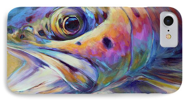 Face Of A Rainbow- Rainbow Trout Portrait IPhone Case by Savlen Art