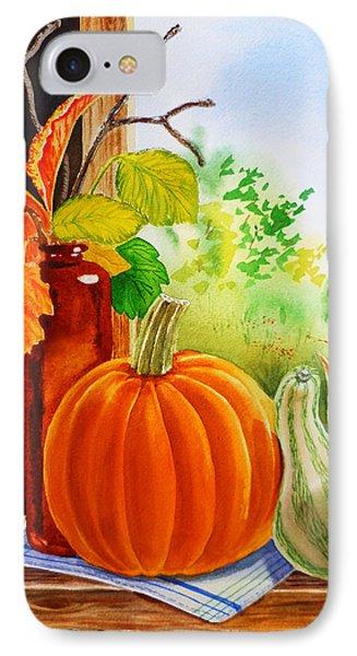 Fall Leaves Pumpkin Gourd IPhone Case by Irina Sztukowski