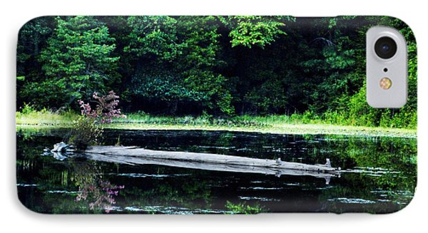 Fallen Log In A Lake IPhone Case by Bill Cannon