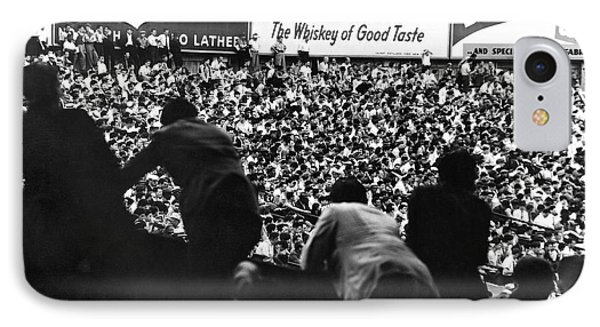 Fans In The Bleachers During A Baseball Game At Yankee Stadium IPhone 7 Case by Underwood Archives