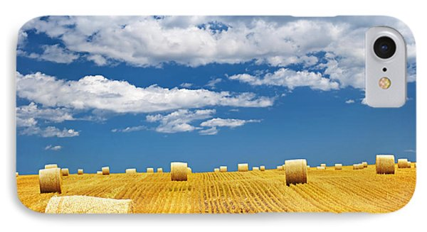 Farm Field With Hay Bales IPhone Case by Elena Elisseeva