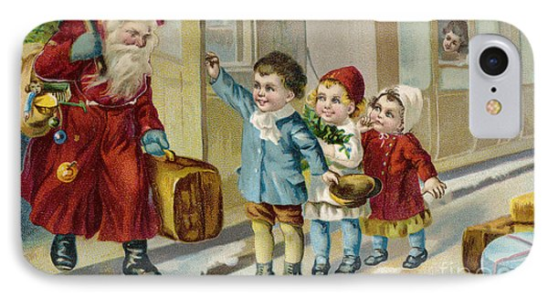 Father Christmas Disembarking Train Phone Case by Mary Evans