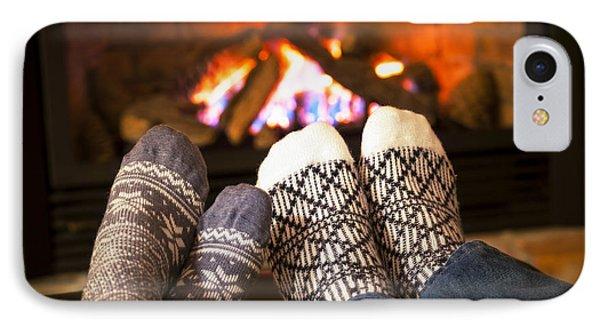 Feet Warming By Fireplace Phone Case by Elena Elisseeva