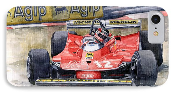 Ferrari  312t4 Gilles Villeneuve Monaco Gp 1979 IPhone Case by Yuriy Shevchuk