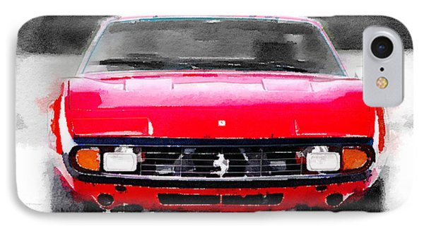 Ferrari 365 Gtc4 Front Watercolor IPhone Case by Naxart Studio