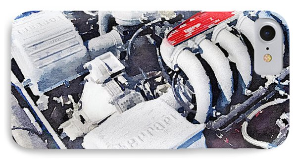 Ferrari 512 Tr Testarossa Engine Watercolor IPhone Case by Naxart Studio