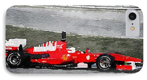 Ferrari F1 Racing Watercolor IPhone Case by Naxart Studio