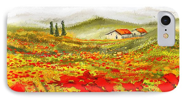 Field Of Dreams - Poppy Field Paintings IPhone Case by Lourry Legarde