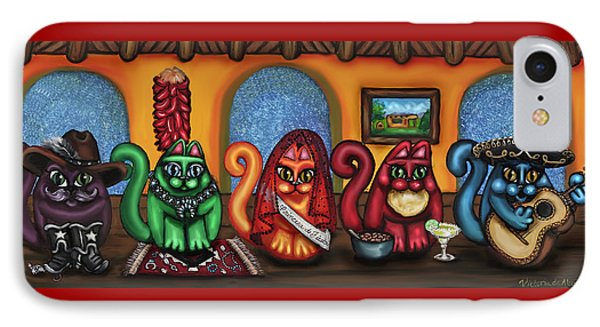 Fiesta Cats Or Gatos De Santa Fe IPhone Case by Victoria De Almeida