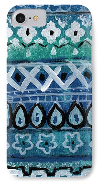 Fiesta In Blue- Colorful Pattern Painting IPhone Case by Linda Woods