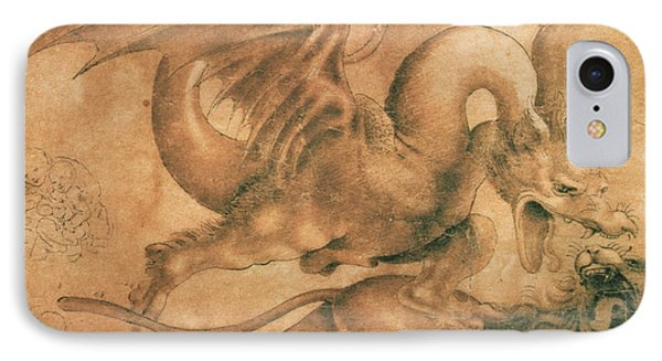 Fight Between A Dragon And A Lion IPhone Case by Leonardo da Vinci
