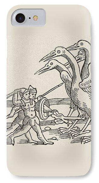Fight Between Pygmies And Cranes. A Story From Greek Mythology IPhone 7 Case by English School