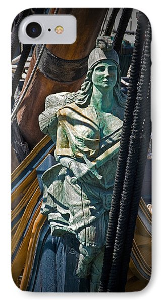 Figurehead On The Bow Of The Sailing Ship The Star Of India IPhone Case by Randall Nyhof
