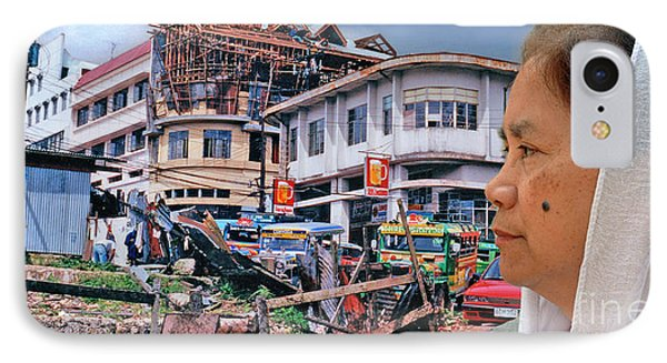 Filipina Woman And Her Earthquake Damage City Version IIi IPhone Case by Jim Fitzpatrick