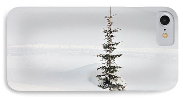 Fir Tree And Lots Of Snow In Winter Kleinwalsertal Austria Phone Case by Matthias Hauser