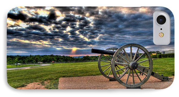Fire Clouds Over A Gettysburg Cannon IPhone Case by Andres Leon