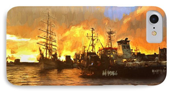 Fire On The Harbor IPhone Case by Georgiana Romanovna