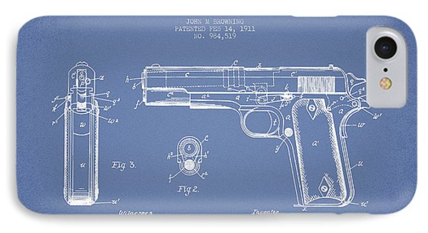 Firearm Patent Drawing From 1911 - Light Blue IPhone Case by Aged Pixel