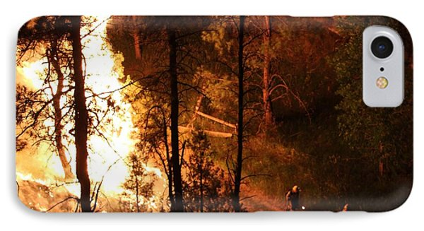 IPhone Case featuring the photograph Firefighters Burn Out On The White Draw Fire by Bill Gabbert