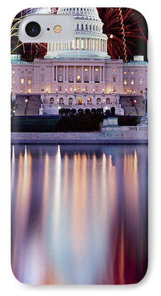 Firework Display Over A Government IPhone 7 Case by Panoramic Images