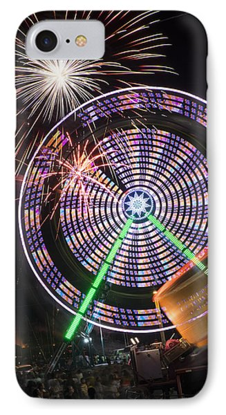 Fireworks Bursting Over A Ferris Wheel Carnival Ride IPhone Case by John Franco
