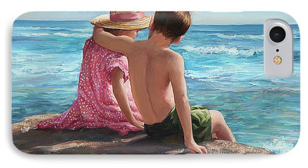 First Love By The Seashore IPhone Case by Laurie Hein