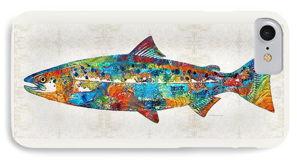 Fish Art Print - Colorful Salmon - By Sharon Cummings IPhone Case by Sharon Cummings