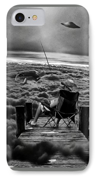Fishing Above The Clouds Grayscale IPhone Case by Marian Voicu