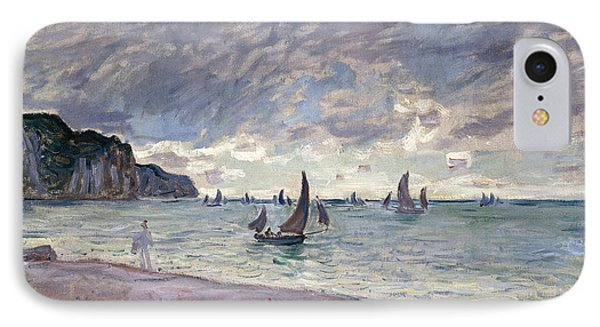 Fishing Boats In Front Of The Beach And Cliffs Of Pourville IPhone Case by Claude Monet