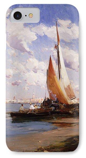 Fishing Craft With The Rivere Degli Schiavoni Venice Phone Case by E Aubrey Hunt