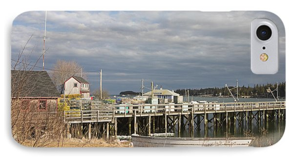Fishing Pier And Rowboat In Tenants Harbor Maine IPhone Case by Keith Webber Jr