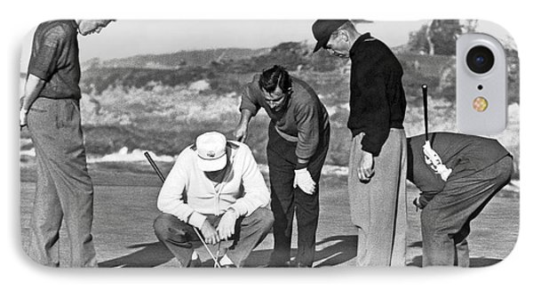 Five Golfers Looking At A Ball IPhone Case by Underwood Archives