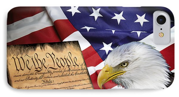 Flag Constitution Eagle IPhone Case by Daniel Hagerman