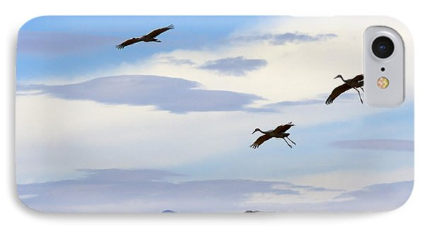 Flight Of The Sandhill Cranes IPhone Case by Mike  Dawson
