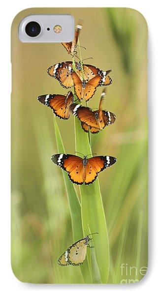 Flock Of Plain Tiger Danaus Chrysippus Phone Case by Alon Meir