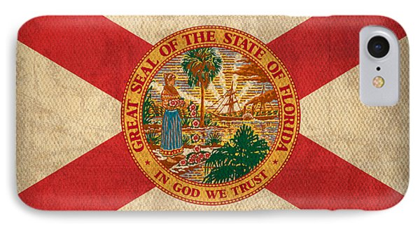 Florida State Flag Art On Worn Canvas IPhone Case by Design Turnpike