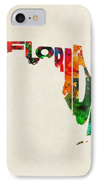 Florida Typographic Watercolor Map IPhone Case by Ayse Deniz