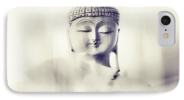 Flower Buddha. Monochrome IPhone Case by Jenny Rainbow