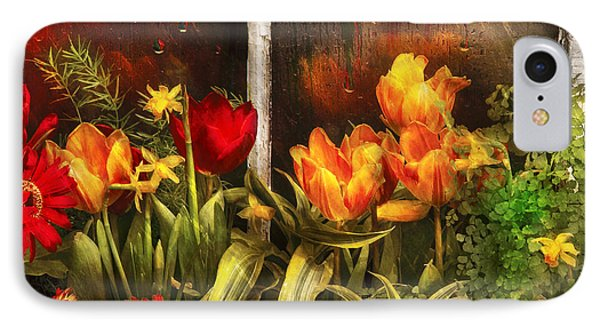 Flower - Tulip - Tulips In A Window IPhone Case by Mike Savad