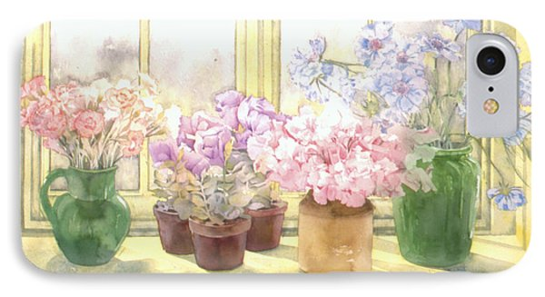 Flowers On The Windowsill Phone Case by Julia Rowntree
