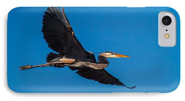 Flying Great Blue Heron IPhone Case by Andres Leon
