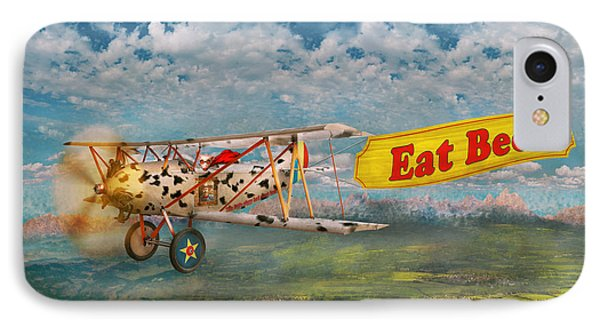 Flying Pigs - Plane - Eat Beef Phone Case by Mike Savad