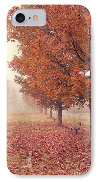 Foggy Autumn Morning Etna New Hampshire IPhone Case by Edward Fielding